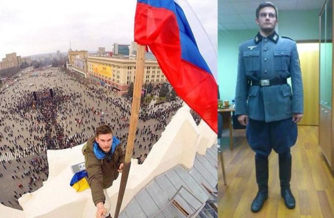 Поднявший флаг РФ в Харькове москвич позирует в форме СС (ФОТО)