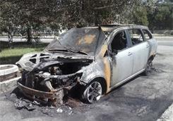 сожженое авто