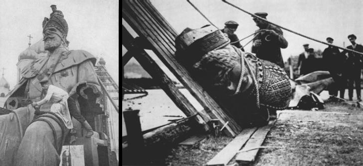 Снос памятника Александру  III в 1918 году