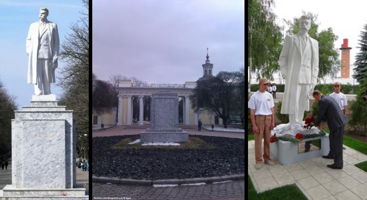 Памятник Горькому в парке - Демонтаж памятника - перенос памятника в Куряжскую колонию