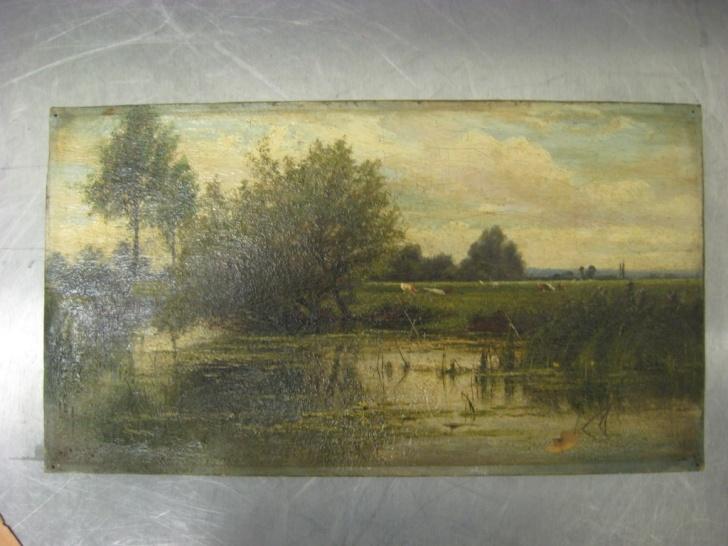 Картина написанная маслеными красками с изображением пейзажа;