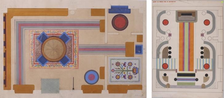 Проекты оформления: (1)первого павильона Украинской ССР на ВСХВ, 1939; (2) дворца пионеров и октябрят в Харькове, 1933