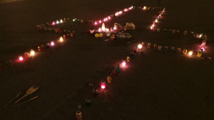 Так выглядел памятный крест на площади Свободы