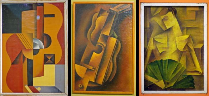 (1) Гитара, 1920-е; (2) Мандолина, 1920-е; (3) Дама с веером, 1919
