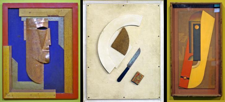 (1) портрет художника А.Почтенного, 1924; (2) Композиция, 1920-е; (3) Арлекин, рельеф, 1924