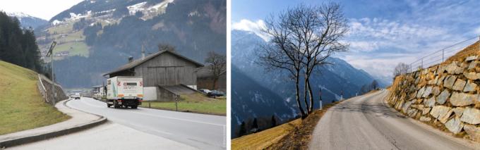 Австрия: стены перед дорогой.
