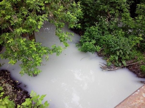 Предприятия превратили речку Роганка в «молочную», сбрасывая в нее химикаты, июнь 2015 года.