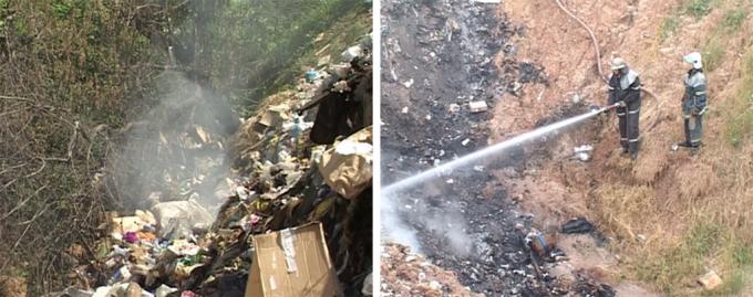Стихийная свалка в Килиничах и тушение пожара на свалке. Фото: Объектив.
