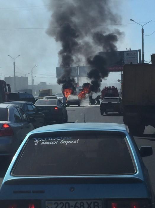пожар в авто на клочковской