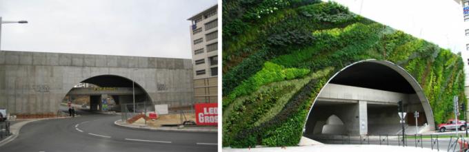 Мост в Экс-ан-Прованс, Франция до и после вертикального озеленения Патрика Бланка. Фото: www.adme.ru