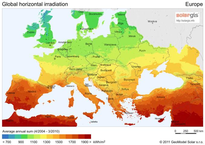 Солнечное излучение в Европе. Фото: solargis.info