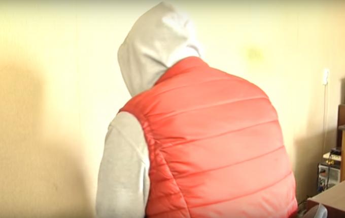 Подозреваемый в убийстве харьковчанки. Кадр из видеозаписи ГУ НП Украины в Харьковской области.