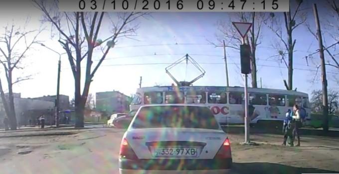 Кадр из видео столкновения