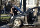 внедорожник Mercedes пожар