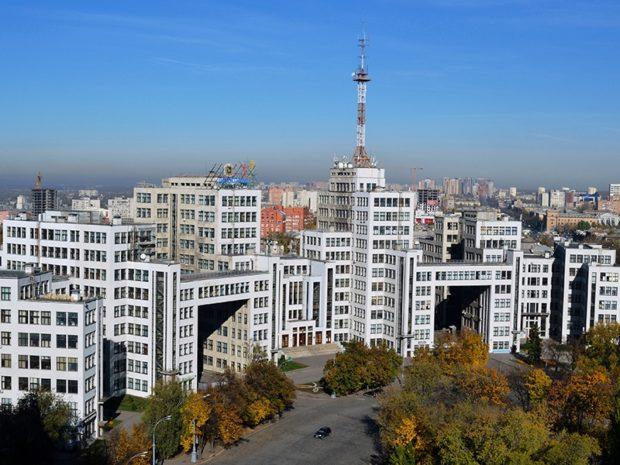 Здание Госпрома в Харькове с высоты