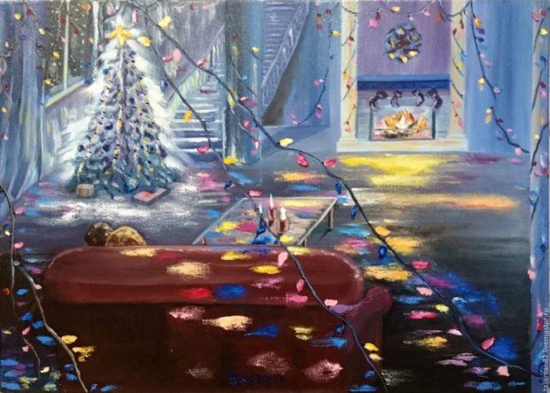 Новогодняя картина ,нарисованная акварелью