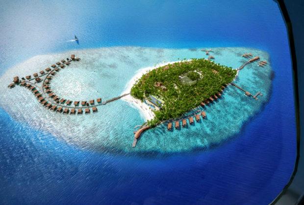 Мальдивы, вид с самолета