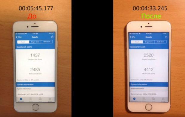 iPhone 6 после замены батареи