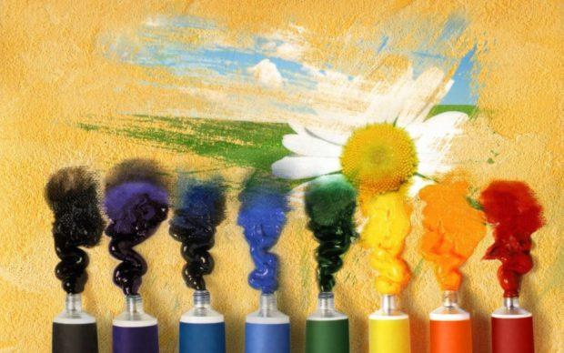 Краски, рисунок, цветок