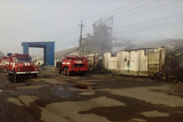 Под Харьковом спасатели тушат пожар на зерноскладах