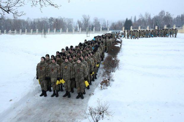 В Харькове около 500 кадетов приняли участие во флешмобе по случаю Дня Соборности