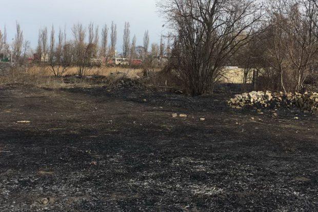 В Харькове из-за большого пожар камыша сгорела хозяйственная постройка