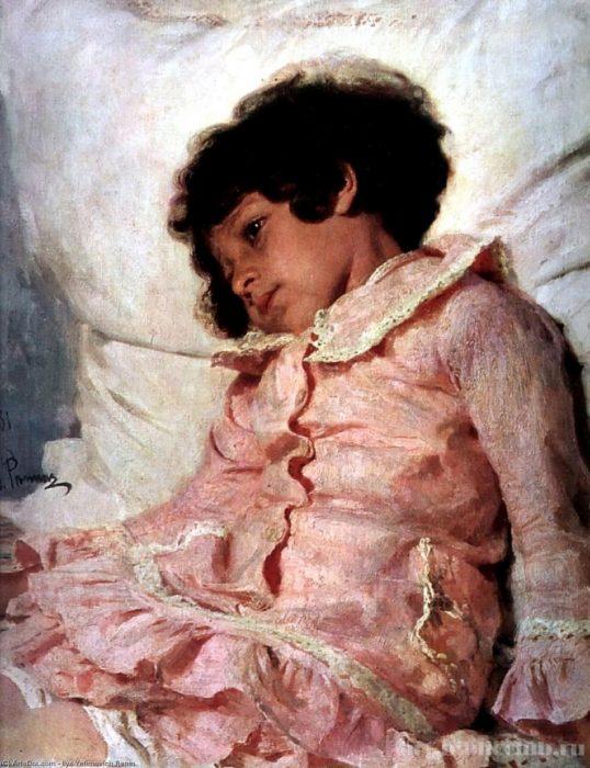 Девочка в розовом. Портрет дочери Нади Репиной. 1881