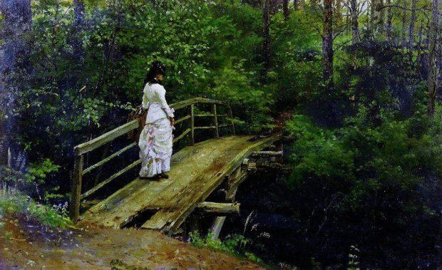 Летний пейзаж (Вера Алексеевна Репина на мостике в Абрамцеве). 1879