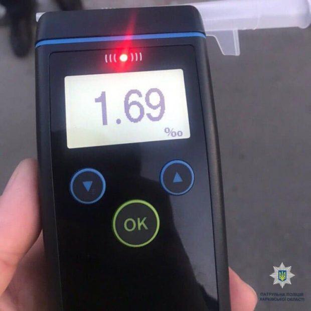 В Харькове патрульные остановили водителя у которого норма алкоголя в крови была превышена в 9 раз