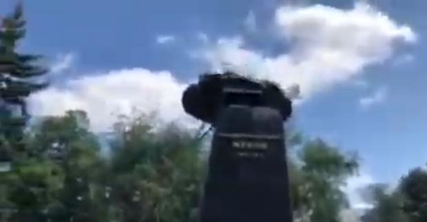 """""""Национальный корпус"""" снесли бюст Жукову возле Дворца Спорта"""