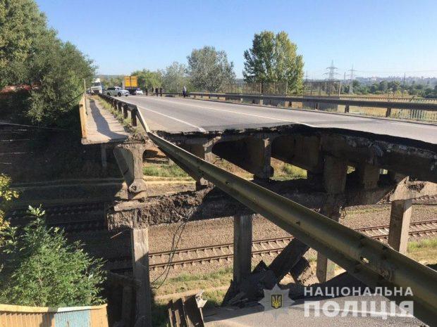В Харькове на Окружной дороге обрушился мост