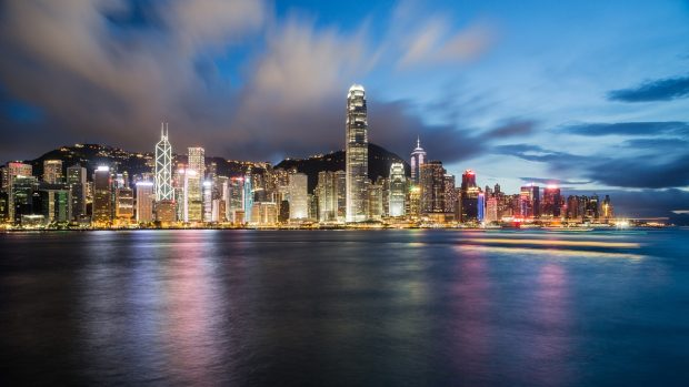 Гонконг, Китай ночью