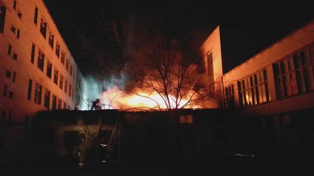 В Харькове горел корпус Центра профтехобразования