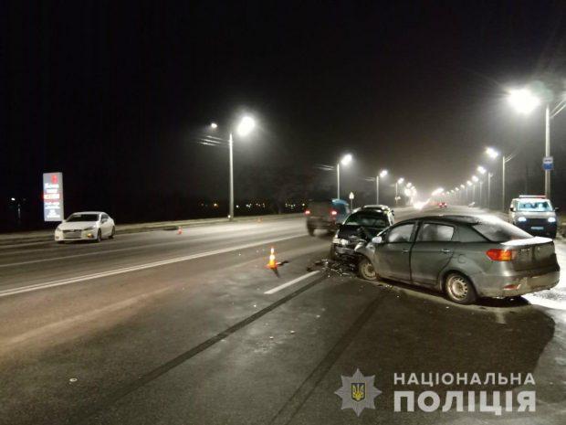 В Харькове столкнулось четыре автомобиля
