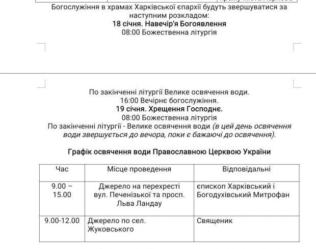 На Крещение в источниках Харькова освятят воду (список)