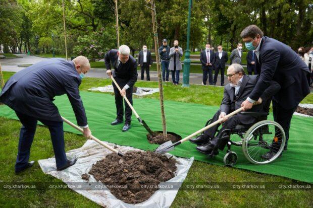 Кернес высадил дубы в саду Шевченко