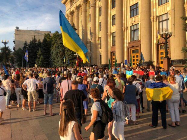 Под зданием Харьковской ОГА митинговали против новой договоренности Зеленского по Донбассу