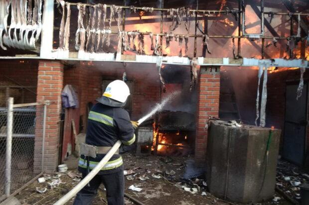 Под Харьковом во дворе дома произошел масштабный пожар