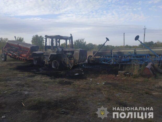 Под Харьковом сожгли сельхозтехнику