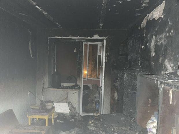 В Харькове на пожаре в девятиэтажном доме погибла пожилая женщина