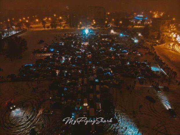 """Возле ОСК """"Металлист"""" зажгли самую большую автоелку в Украине"""