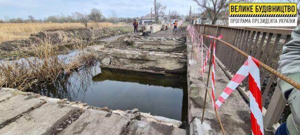 В Казачьей Лопани капитально ремонтируют мост через реку Лопань