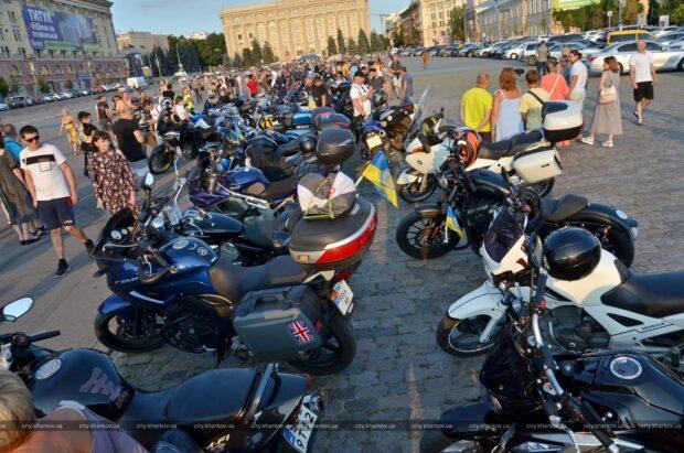 В Харькове встретили участников Всеукраинского мотопробега