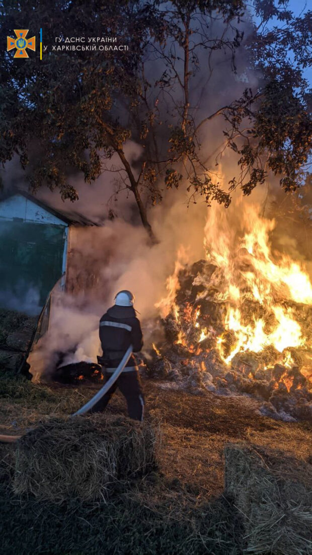 В Харьковской области на территории частного дома сгорело две тонны сена